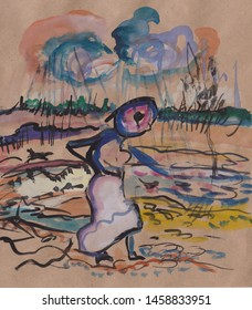 fantasy picture, woman going in field in bad weather