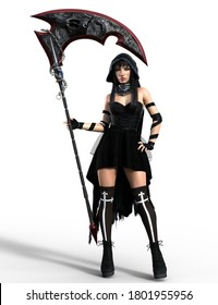 Fantasy portrait of  reaper woman with scythe. Full length standing pose holding a scythe, isolated on white bacground- 3D Illustration