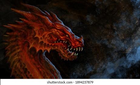 Fantasy  red dragon head - digital illustration