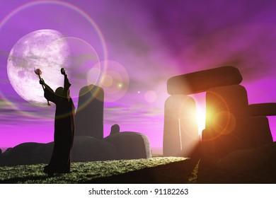 Fantasy render of Celtic druid bathing in sunrays shining through standing stones at Stonehenge