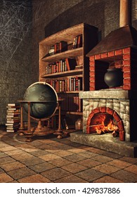 Fantasy room with a fireplace, books, cobwebs, and a cauldron. 3D illustration.