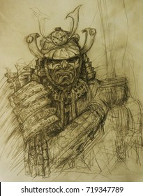 fantasy samurai drawing sketch character, background for the game