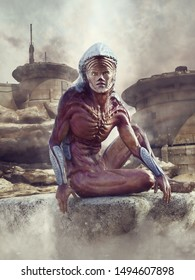 Fantasy scene with an alien man sitting in front of a futuristic desert outpost. 3D illustration.