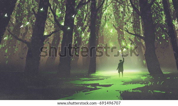 Fantasy Scene Alone Man Torch Standing Stock Illustration