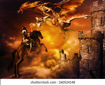 Fantasy scene with castle and  dragon attacking black knight