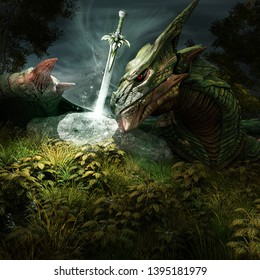Fantasy scene with green dragon and a sword. 3D illustration.