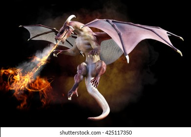 Fantasy scene of a red dragon blowing fire on a gradient smoke black background. 3d rendering