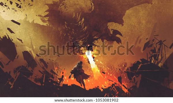 фэнтези сцены показывает молодой мальчик убегает от огня дракона, цифровой художественный стиль, иллюстрация живопись
