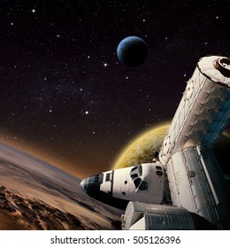 Fantasy scene of Shuttle and  Space Station around alien planet. Computer Illustration (Not 3D Render). 'Elements of this image furnished from NASA' (Shuttle)