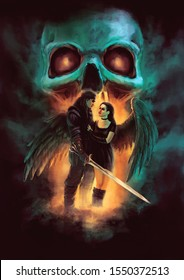 fantasy scene - standing man with sword and young woman with wings, fiery glow and skull in background - original illustration of fictional characters