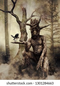 Fantasy scene with a tree man holding a small bird in his hand. 3D illustration.