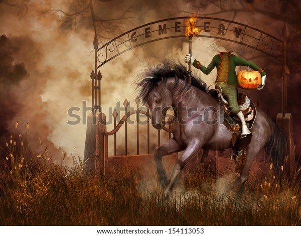 Fantasy scenery with a cemetery gate and headless horseman
