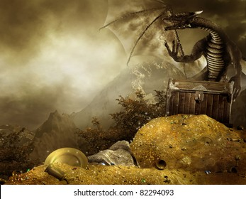 Fantasy scenery with a dragon and a heap of gold