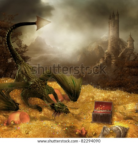 Royalty Free Stock Illustration Of Fantasy Scenery Dragons Treasure