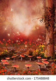 Fantasy scenery with a fairy ring of colorful mushrooms and flowers