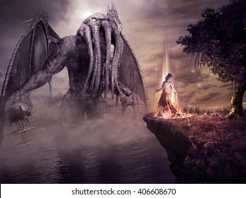 Fantasy scenery with monster and evil sorceress. 3D illustration.