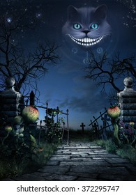 Fantasy scenery with old gate,stone road and smiling cat