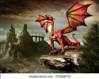 Fantasy scenery with red dragon and castle ruins
