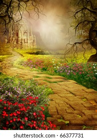 Fantasy scenery with a road to an old castle
