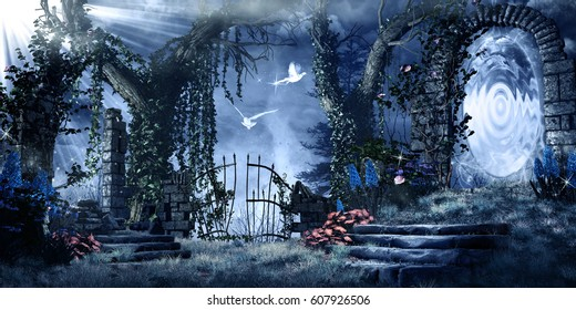 Fantasy scenery with ruins, trees and magic portal. 3D illustration