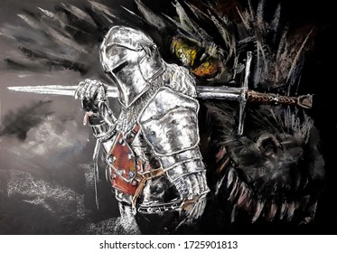 Fantasy Series. The knight who killed the dragon. Drawing by pastel.