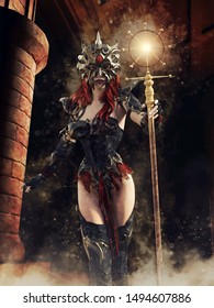 Fantasy sorceress with a mask and a shining staff in an old castle corridor at night. 3D illustration.