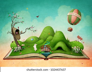 Fantasy spring illustration for Easter holiday greeting card or  poster   with  green landscape on the book