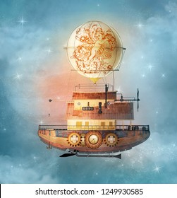 Fantasy steampunk airship flies in a starry sky - 3D illustration