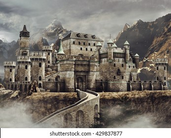 Fantasy stone caste with a bridge in the mountains. 3D illustration.