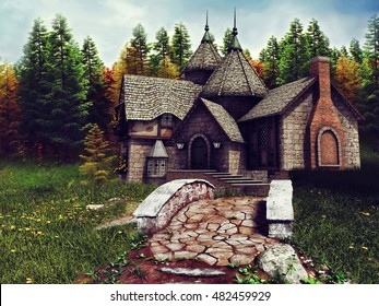 Fantasy stone cottage in the colorful autumnal forest. 3D illustration.
