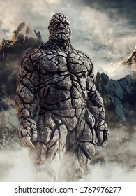 Fantasy stone giant made of rock standing in front of snowy mountains. 3D illustration.