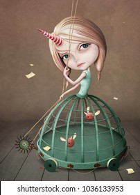 Fantasy surreal conceptual illustration   with  portrait   Girl  Unicorn in  cage.