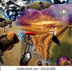 Fantasy Surreal scene. Man with red umbrella, light bulbs symbolizes ideas. Eye of God in the sky. 3D rendering