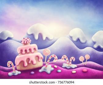 Fantasy sweet land in winter