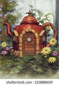 Fantasy teapot cottage on a green meadow among colorful spring flowers. 3D illustration.