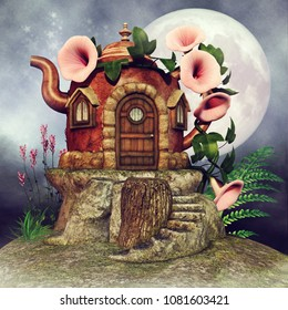 Fantasy teapot fairy cottage at night, with the moon, flowers and green fern. 3D illustration.