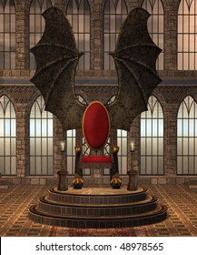 Fantasy throne room with a winged throne