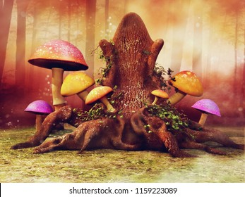 Fantasy tree throne with colorful mushrooms and ivy on a meadow in the forest. 3D illustration.
