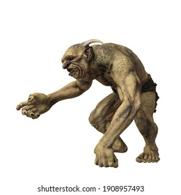 Fantasy Troll holding out hand in friendly gesture. 3d render isolated on white background.