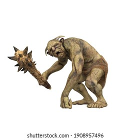 Fantasy Troll leaning on one hand and holding a spiked club weapon. 3d render isolated on white background.