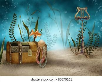 Fantasy underwater scenery with treasure chest