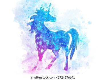 Fantasy unicorn horse in watercolor background