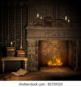 Fantasy vintage room with a fireplace and books
