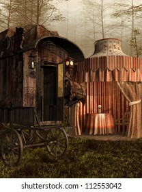 Fantasy vintage tent and cart in the forest