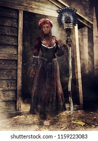 Fantasy voodoo witch with a magic staff standing in front of a wooden cottage. 3D illustration.