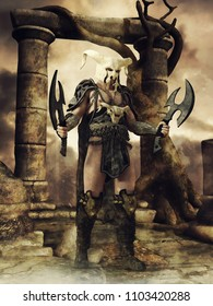 Fantasy warrior in a bone helmet standing in front of a stone pillar gate. 3D illustration.