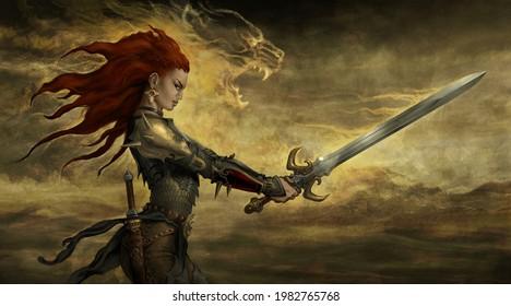 Fantasy warrior woman - digital illustration