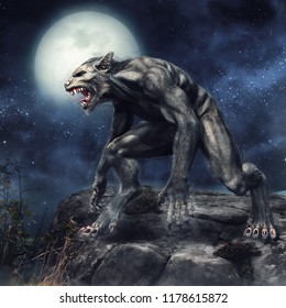 Fantasy Werewolf Standing On A Rocky Cliff Full Moon Night 3D Illustration