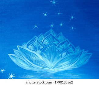 Fantasy white lotus on the night starry sky painted with oil paints