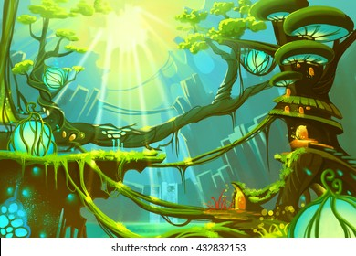 The Fantasy Wild Forest with Sunlight. Video Game Digital CG Artwork, Concept Illustration, Realistic Cartoon Style
